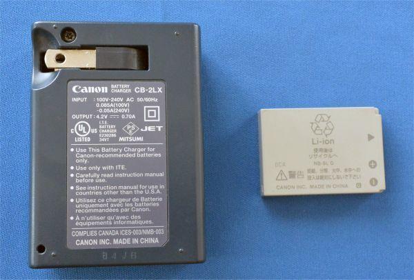 【ジャンク】Canon 充電器 CB-2LX、電池 NB-5L キャノン充電器とバッテリーパックセット_画像2