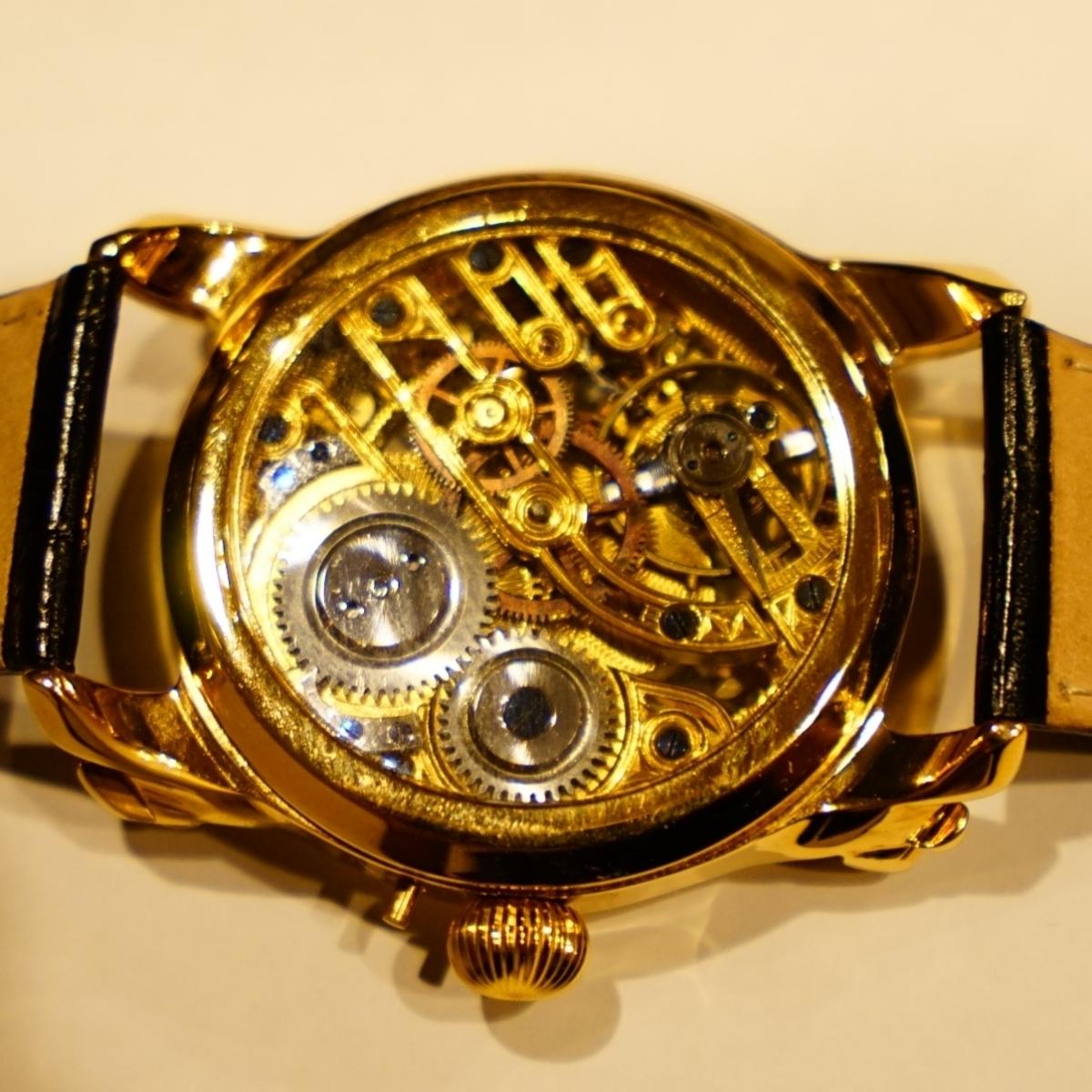 新品仕上げ ショパール Louis Ulysse Chopard アンティーク フルスケルトン アールデコ 手巻 腕時計 リケース シルバー 動作品 メンズ_画像3
