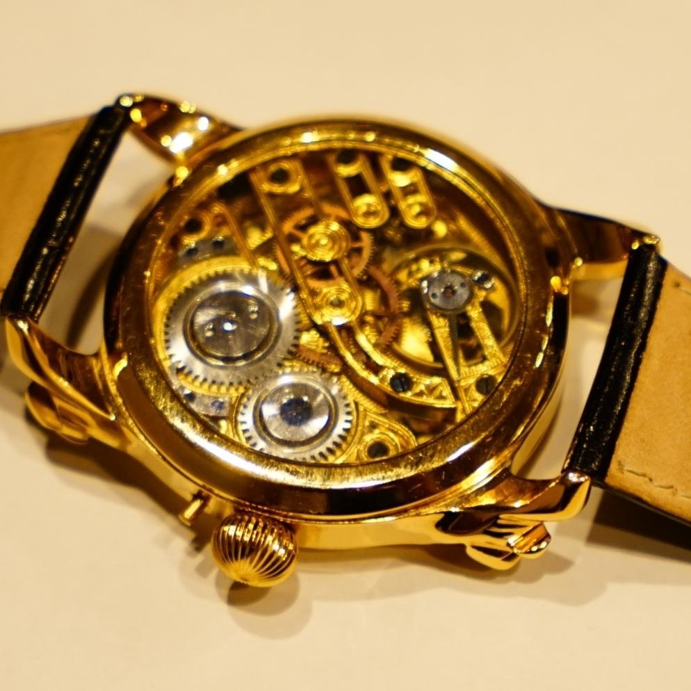 新品仕上げ ショパール Louis Ulysse Chopard アンティーク フルスケルトン アールデコ 手巻 腕時計 リケース シルバー 動作品 メンズ_画像4