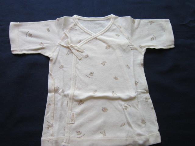 ご出産準備1◆セレク CELEC 新生児50~60㎝ 打合せ半袖肌着 3枚セット ベージュ系かわいい色柄 お値打ち _画像5
