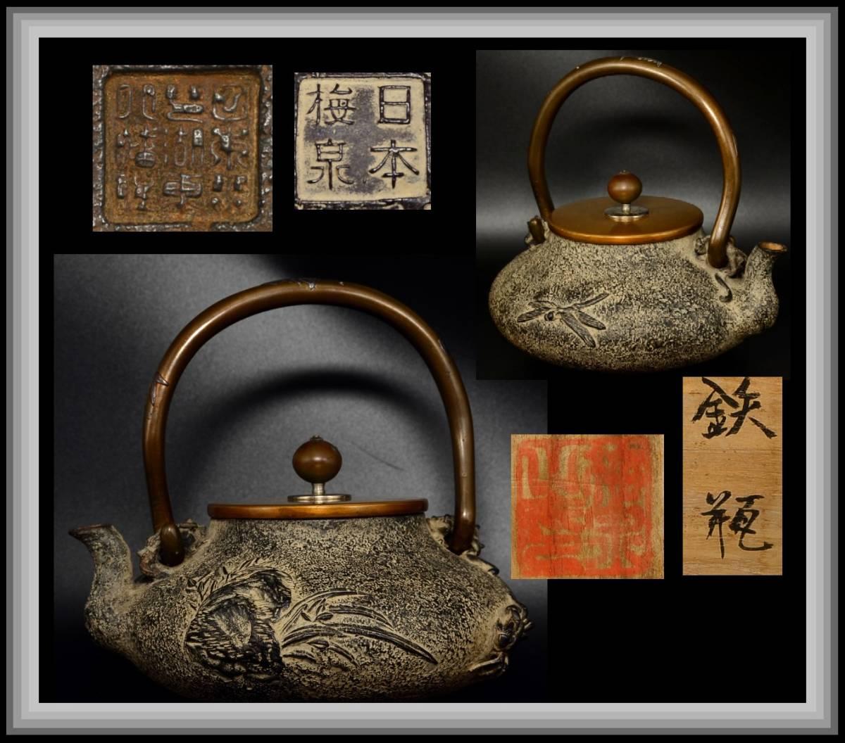 【近江の蔵道具】古作保証 梅泉最上作品 月山草蟹蜻蛉鉄瓶 蝋型一点造 亀文堂
