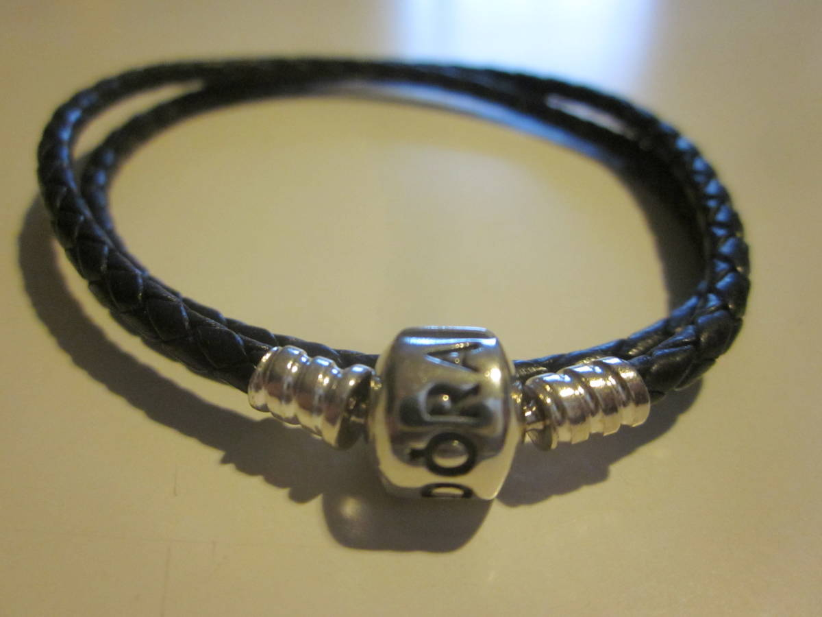 PANDORA bread gong leather bracele silver - dark blue color series