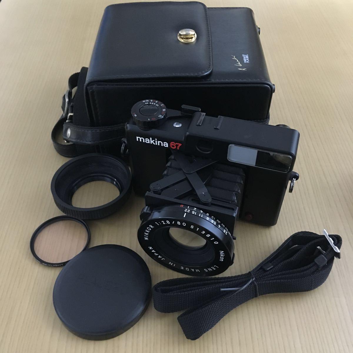 PLAUBEL makina 67 (Nikon Nikkor 80mm f2.8)プラウベル・マキナ 中判カメラ 完動品 シャッター切れスピード変化し露出計も動作しました。