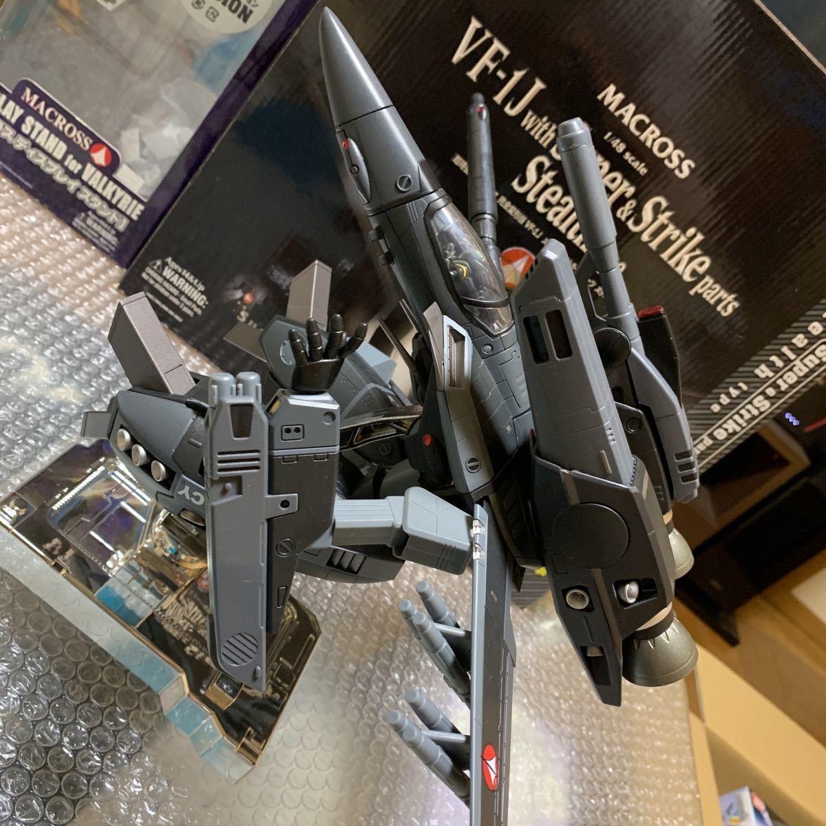極美品 希少 やまと YAMATO 完全変形 1/48 VF-1J with Super & Strike parts Stealth type VF-1J ステルスタイプ スーパー ストライク 付_画像3