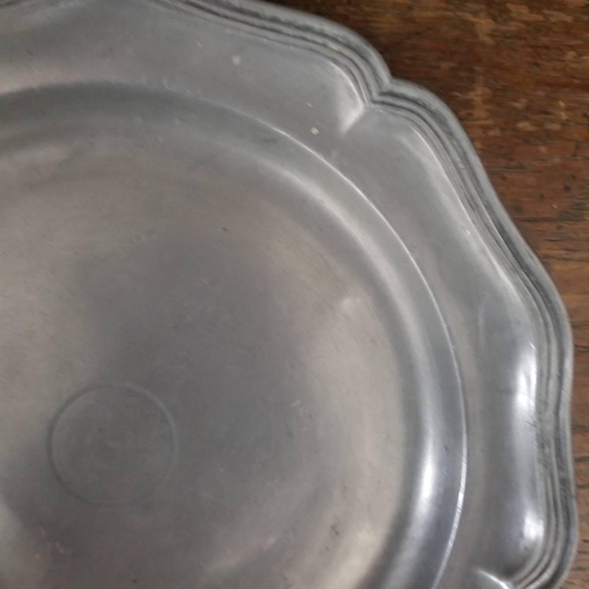 アンティーク 花リム ピュータープレート 23㎝ ④ エタンプレート 錫のお皿 フランス ヴィンテージ ブロカント シャビーシック 古道具_画像2