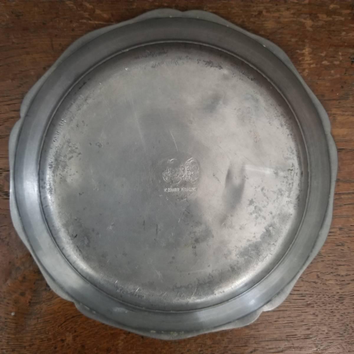 アンティーク 花リム ピュータープレート 23㎝ ④ エタンプレート 錫のお皿 フランス ヴィンテージ ブロカント シャビーシック 古道具_画像4