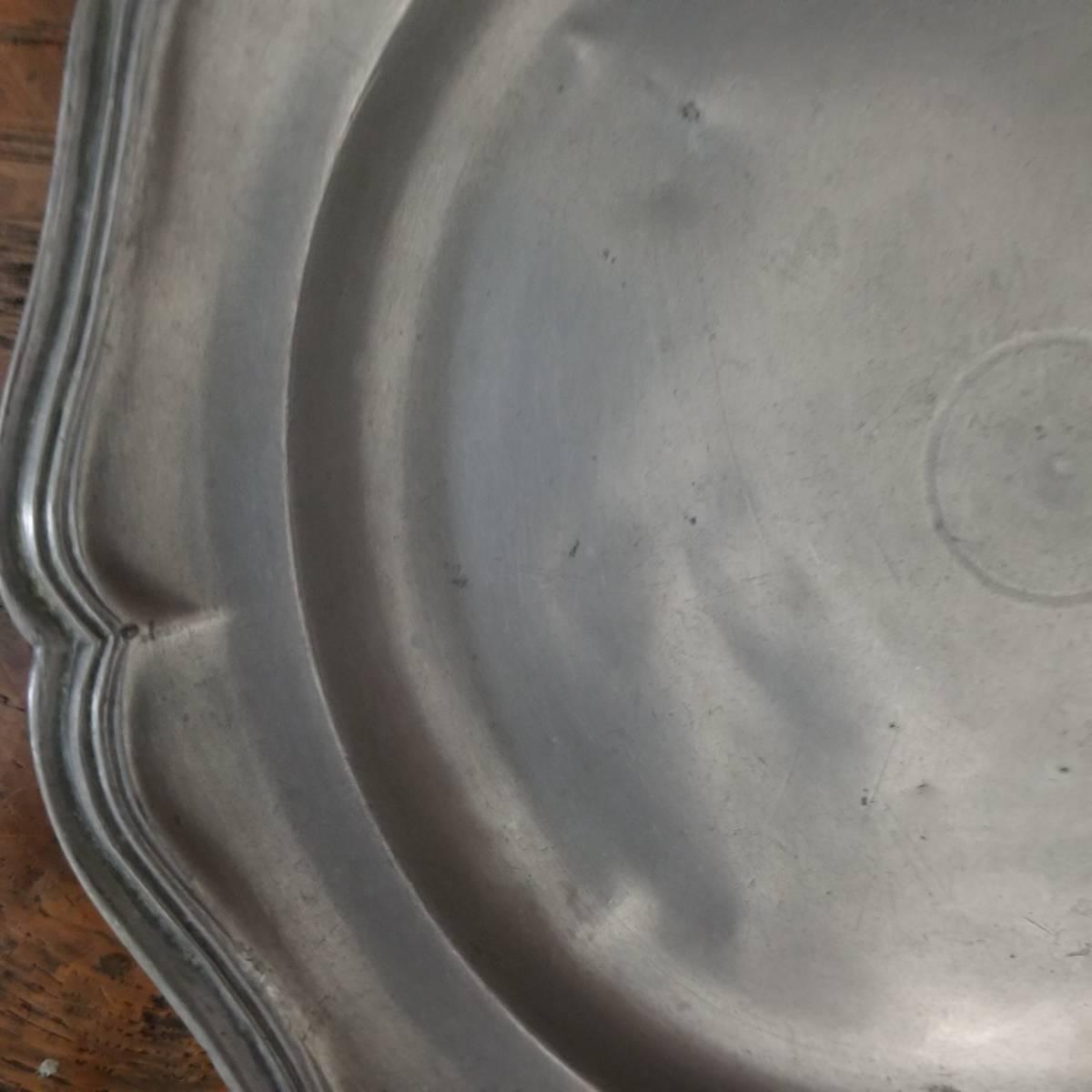 アンティーク 花リム ピュータープレート 23㎝ ④ エタンプレート 錫のお皿 フランス ヴィンテージ ブロカント シャビーシック 古道具_画像3