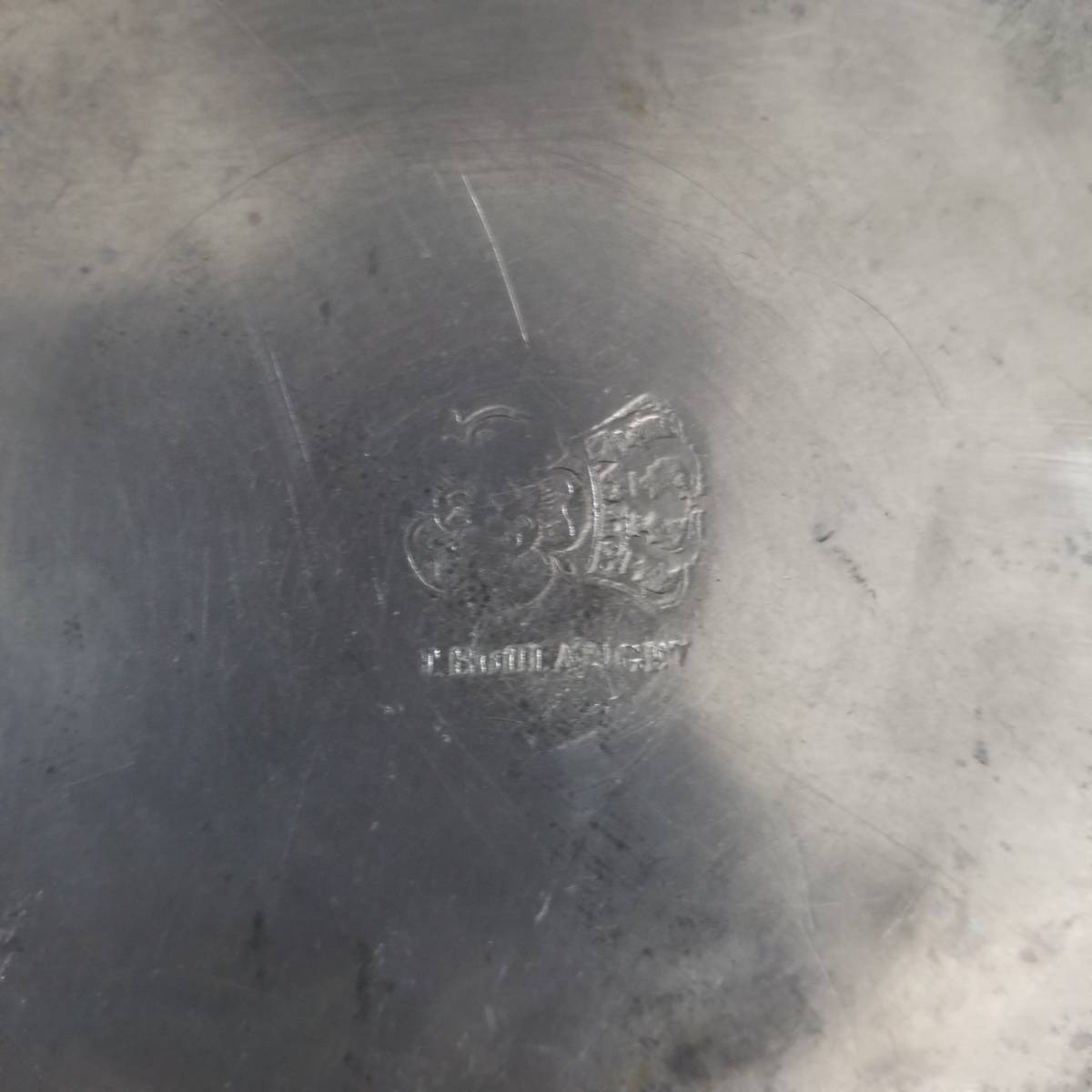 アンティーク 花リム ピュータープレート 23㎝ ④ エタンプレート 錫のお皿 フランス ヴィンテージ ブロカント シャビーシック 古道具_画像5