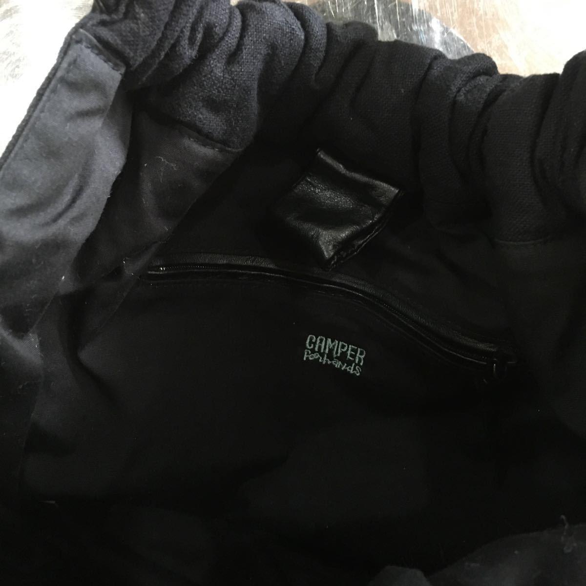 カンペール CAMPER ハンドバッグ ストロー×レザー 黒 かごバッグ 美品 バッグ 刺繍_画像4