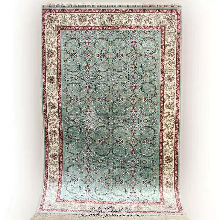 展示品超極美豪華天然☆シルク100% ペルシャ絨毯☆入ペルシャ絨毯☆ウール高密度300万縫い針世界の名品☆180*270cm_画像2
