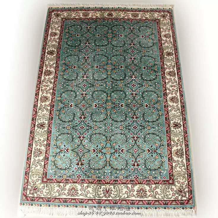 展示品超極美豪華天然☆シルク100% ペルシャ絨毯☆入ペルシャ絨毯☆ウール高密度300万縫い針世界の名品☆180*270cm