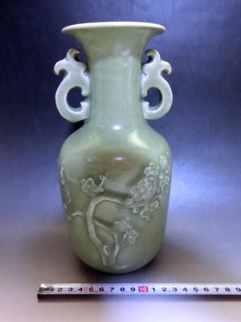 花瓶■耳付 青磁 梅紋 花器 古玩 唐物 中国 古美術 時代物 骨董品■ _画像3
