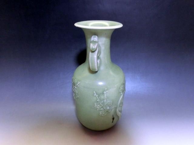 花瓶■耳付 青磁 梅紋 花器 古玩 唐物 中国 古美術 時代物 骨董品■ _画像5