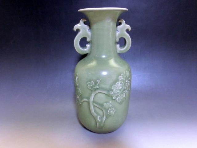 花瓶■耳付 青磁 梅紋 花器 古玩 唐物 中国 古美術 時代物 骨董品■ _画像2