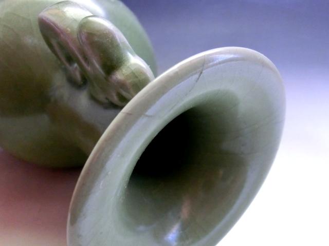 花瓶■耳付 青磁 梅紋 花器 古玩 唐物 中国 古美術 時代物 骨董品■ _画像9