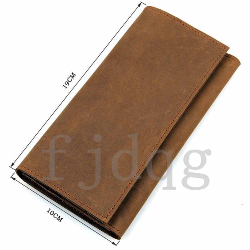 メンズ 二つ折り メンズ長財布 レザー 牛革 ロング財布 薄い 軽量 札入れ カード入れ 紳士用 ボタン付きA060-A_画像3