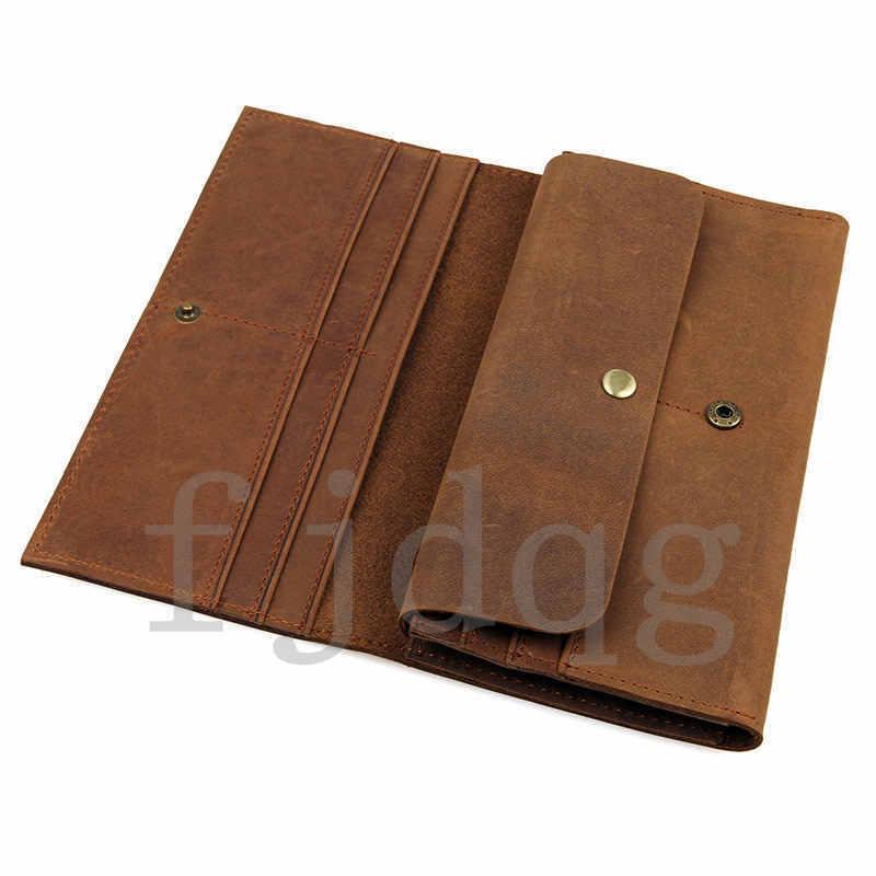 メンズ 二つ折り メンズ長財布 レザー 牛革 ロング財布 薄い 軽量 札入れ カード入れ 紳士用 ボタン付きA060-A_画像6
