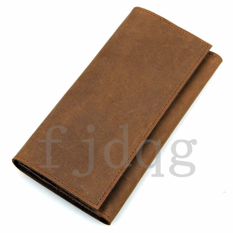メンズ 二つ折り メンズ長財布 レザー 牛革 ロング財布 薄い 軽量 札入れ カード入れ 紳士用 ボタン付きA060-A