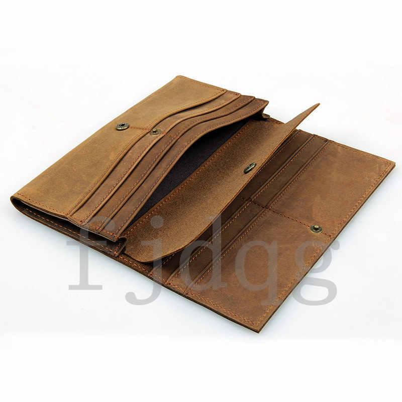 メンズ 二つ折り メンズ長財布 レザー 牛革 ロング財布 薄い 軽量 札入れ カード入れ 紳士用 ボタン付きA060-A_画像2