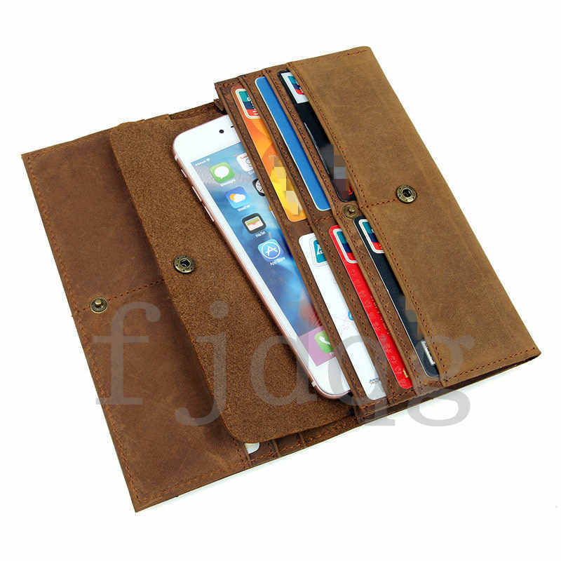 メンズ 二つ折り メンズ長財布 レザー 牛革 ロング財布 薄い 軽量 札入れ カード入れ 紳士用 ボタン付きA060-A_画像4