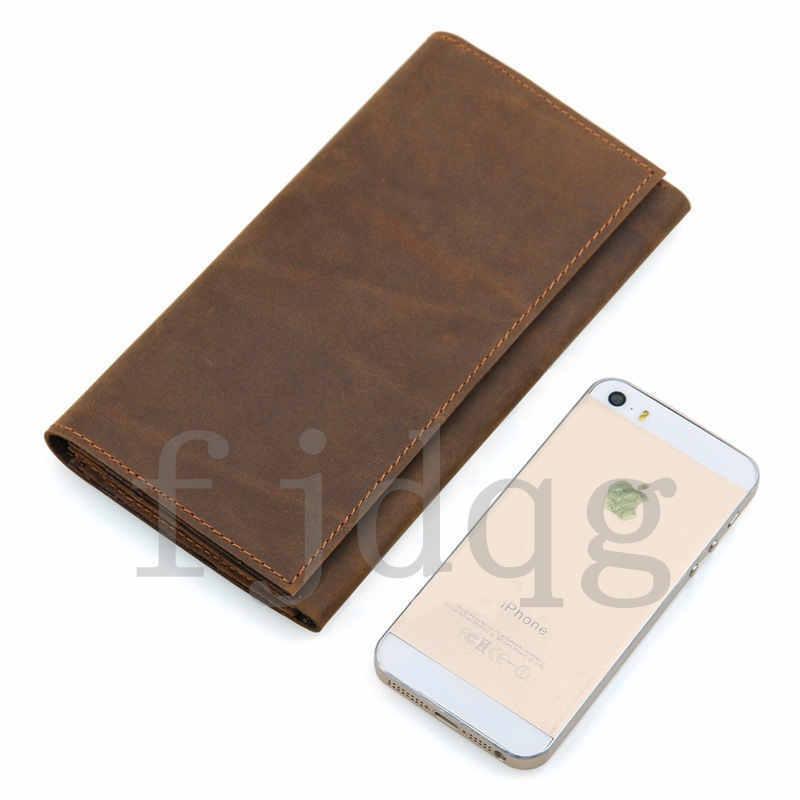 メンズ 二つ折り メンズ長財布 レザー 牛革 ロング財布 薄い 軽量 札入れ カード入れ 紳士用 ボタン付きA060-B_画像7