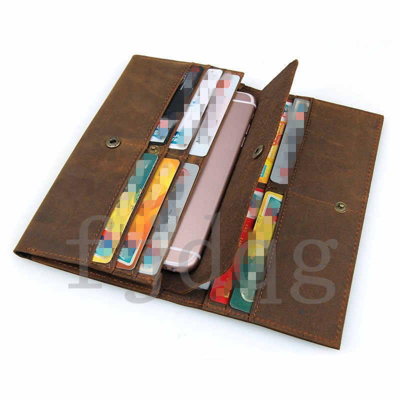 メンズ 二つ折り メンズ長財布 レザー 牛革 ロング財布 薄い 軽量 札入れ カード入れ 紳士用 ボタン付きA060-B_画像8
