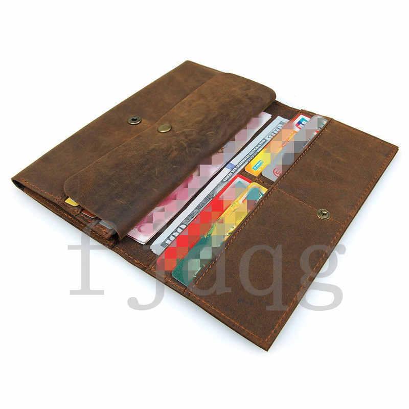 メンズ 二つ折り メンズ長財布 レザー 牛革 ロング財布 薄い 軽量 札入れ カード入れ 紳士用 ボタン付きA060-B_画像6