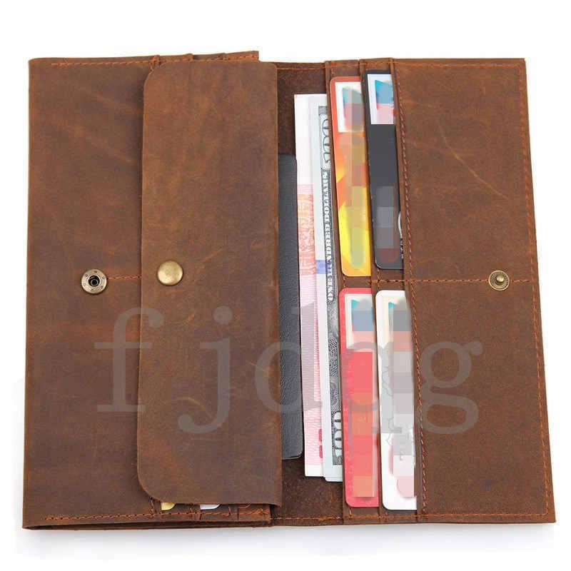 メンズ 二つ折り メンズ長財布 レザー 牛革 ロング財布 薄い 軽量 札入れ カード入れ 紳士用 ボタン付きA060-B_画像5