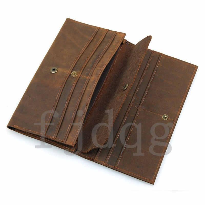 メンズ 二つ折り メンズ長財布 レザー 牛革 ロング財布 薄い 軽量 札入れ カード入れ 紳士用 ボタン付きA060-B_画像4
