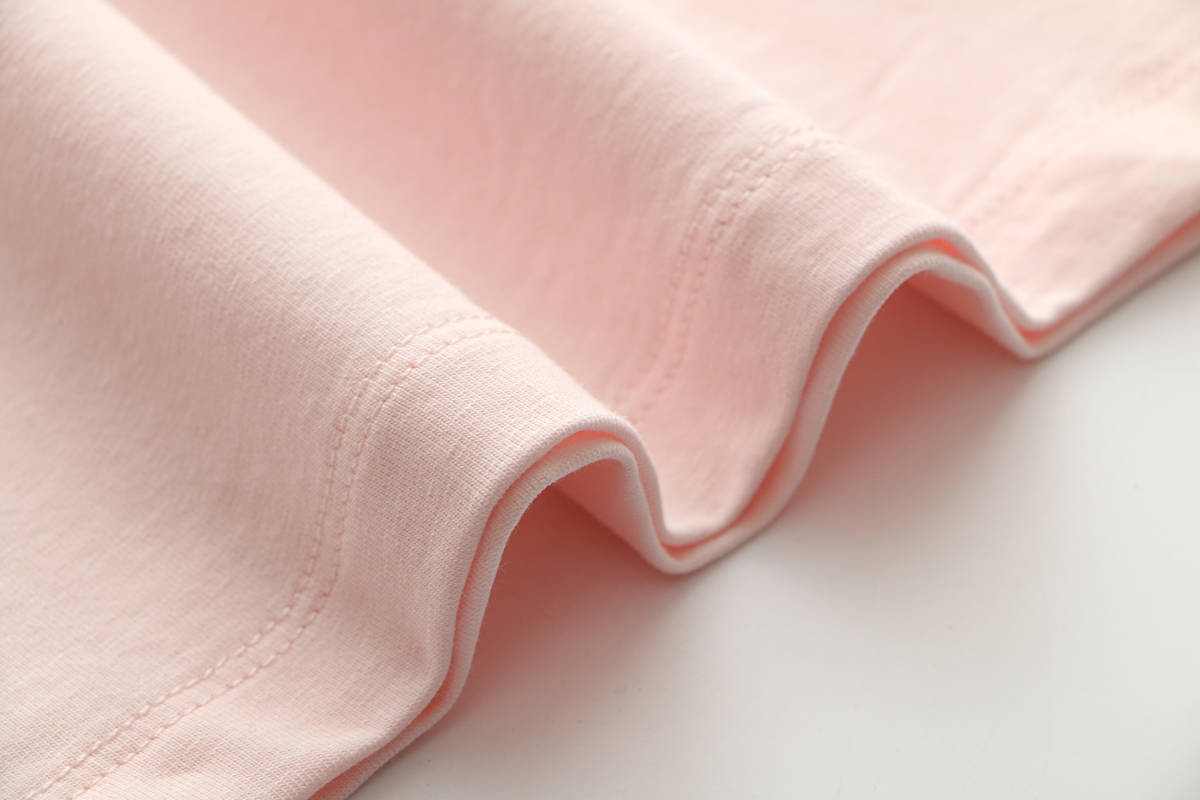 純色Tシャツゆるい丸首短め綿半袖_画像4