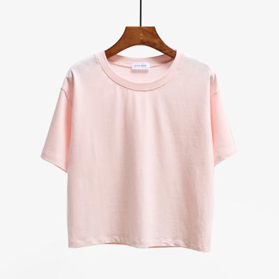 純色Tシャツゆるい丸首短め綿半袖
