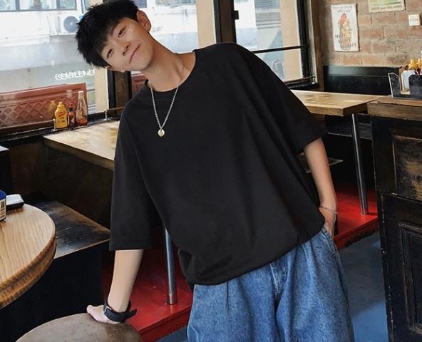 夏・hiphop・Tシャツ・男性・潮札・ゆとり・半袖・印紙・オーバーサイズ・袖の半分
