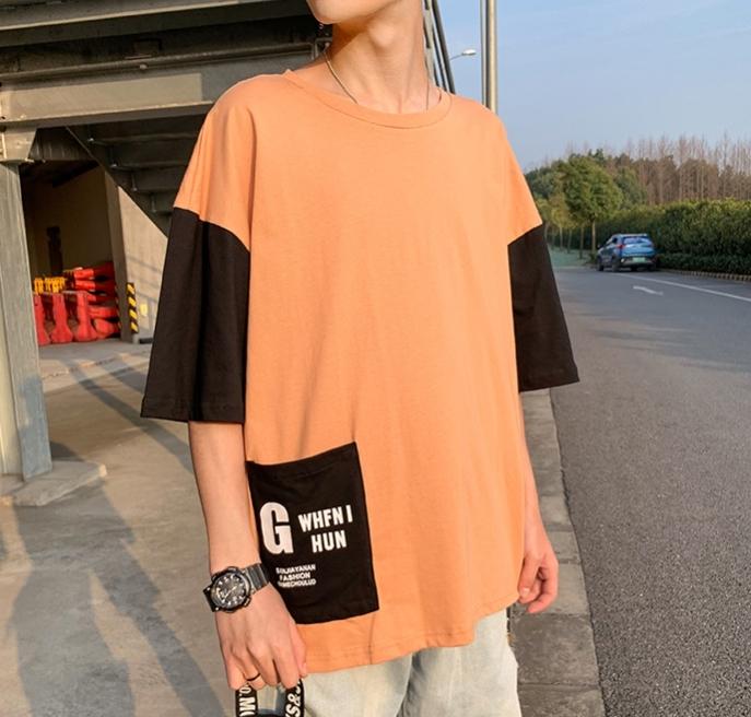 五分袖Tシャツ 男 夏 新デザイン ゆとり 七分中袖 上衣韓版トレンド半袖シャツ半袖ins_画像7