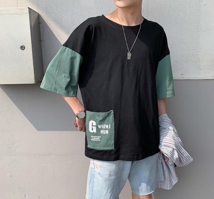 五分袖Tシャツ 男 夏 新デザイン ゆとり 七分中袖 上衣韓版トレンド半袖シャツ半袖ins_画像6