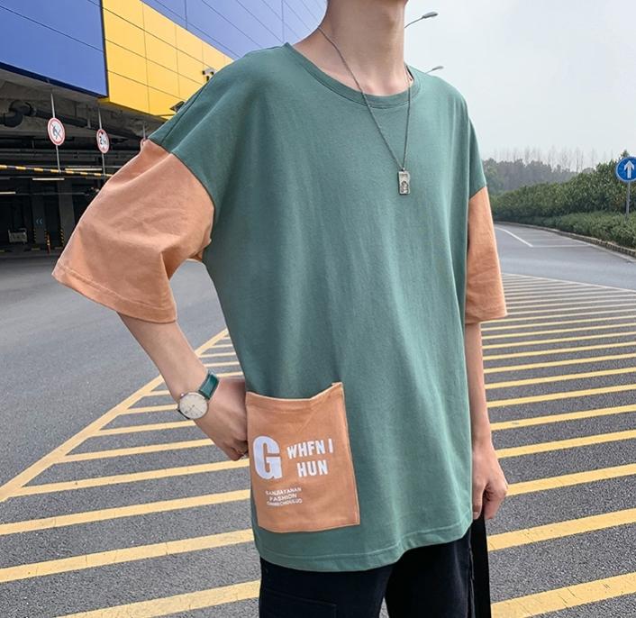 五分袖Tシャツ 男 夏 新デザイン ゆとり 七分中袖 上衣韓版トレンド半袖シャツ半袖ins_画像4