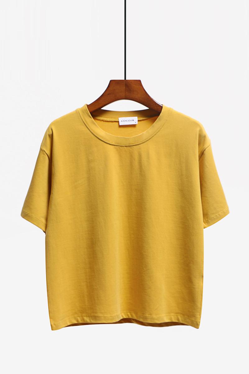 純色Tシャツゆるい丸首短め綿半袖_画像2