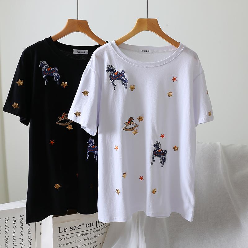 新デザイン 刺繍 星 ハイライト Tシャツ 女性 夏 半袖 ゆったり 半袖 上着_画像2