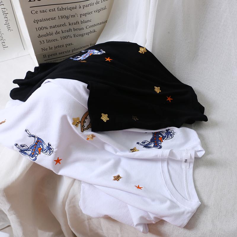 新デザイン 刺繍 星 ハイライト Tシャツ 女性 夏 半袖 ゆったり 半袖 上着_画像4