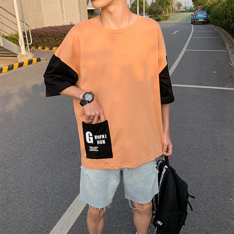 五分袖Tシャツ 男 夏 新デザイン ゆとり 七分中袖 上衣韓版トレンド半袖シャツ半袖ins_画像3