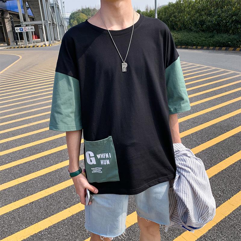 五分袖Tシャツ 男 夏 新デザイン ゆとり 七分中袖 上衣韓版トレンド半袖シャツ半袖ins