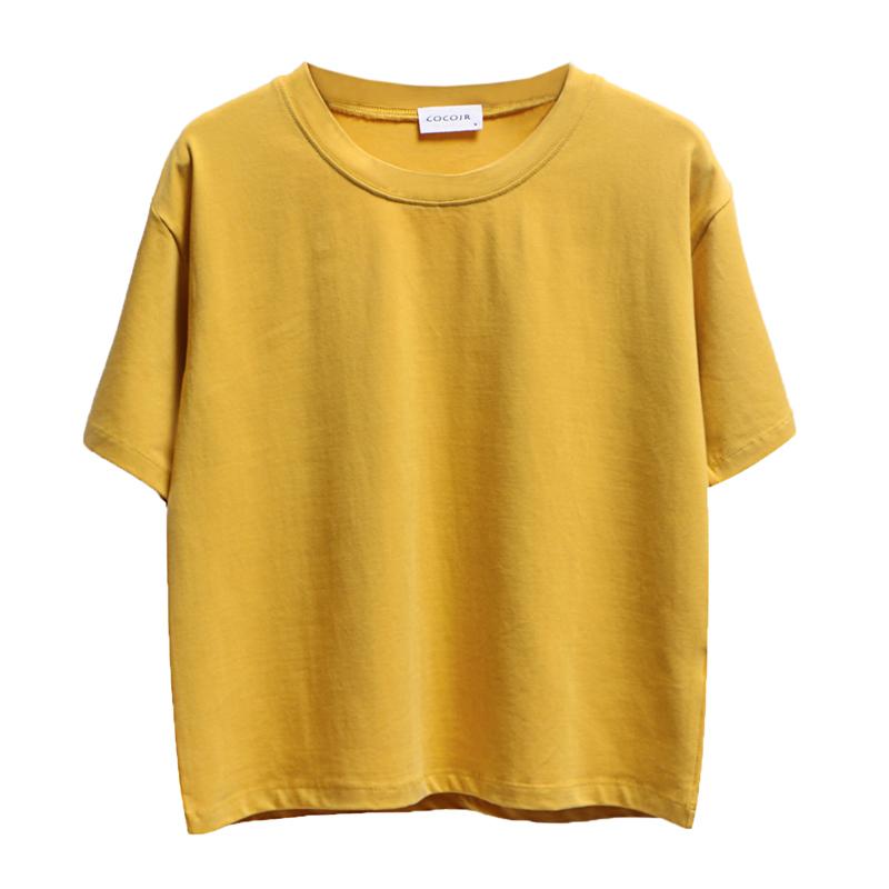純色Tシャツゆるい丸首短め綿半袖_画像3