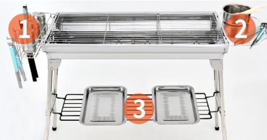 新品 折りたたみ式 特大号の野外バーベキュー炉家庭用ステンレスグリル屋外炭5-15人用工具フルセット炭オーブン_画像4