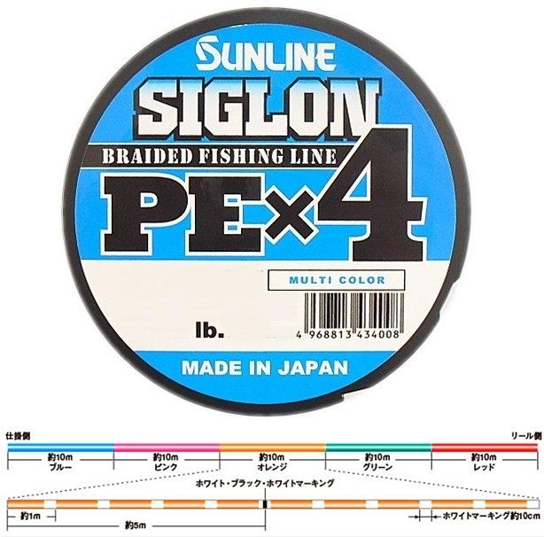 日本製 サンライン シグロン PE-X4 150m0.8号 5色分け 12lb 税込即決 SUNLINE 5color 4braid PE line Made in japan_画像1