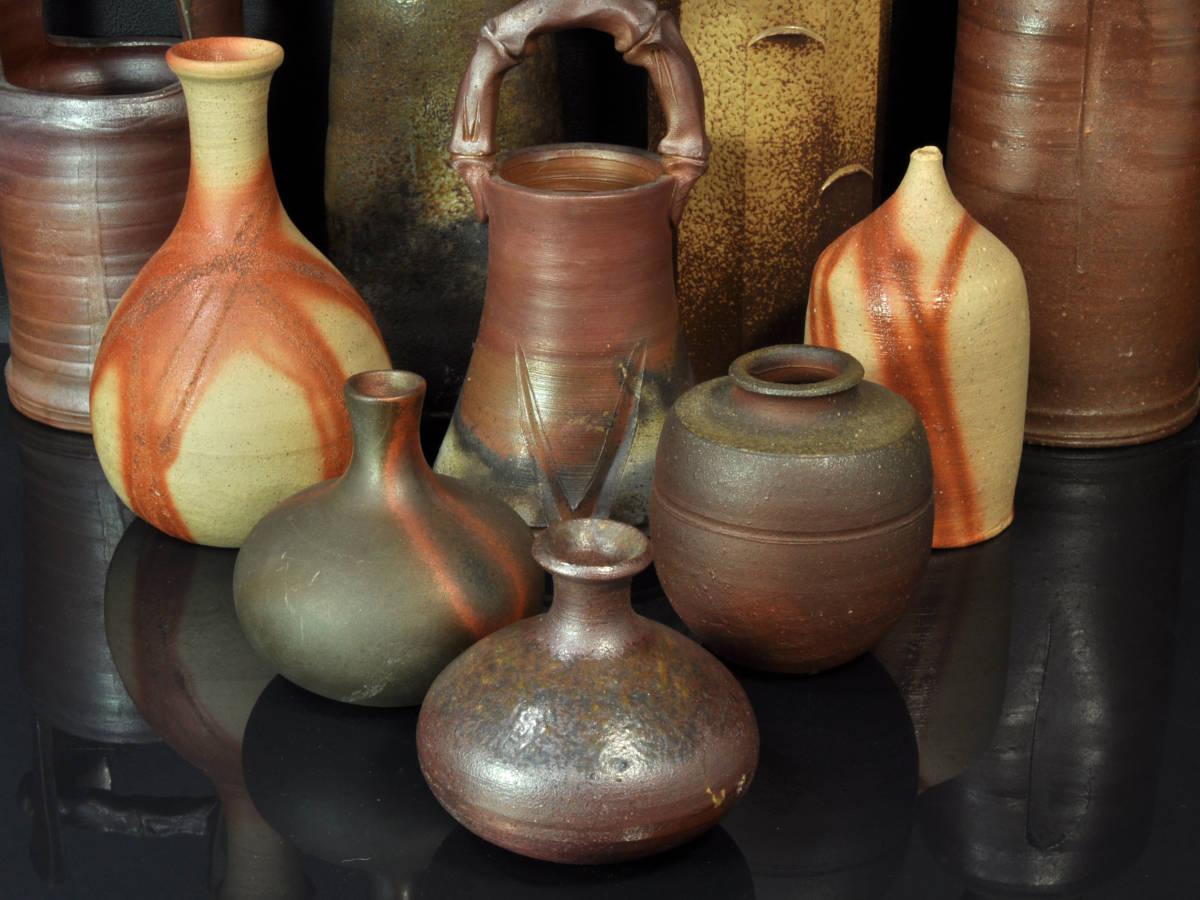 【義】 備前焼 越前焼 小花瓶 計10点 ど~んと まとめて 大量 花器 花入 華道具 箱なし_画像5