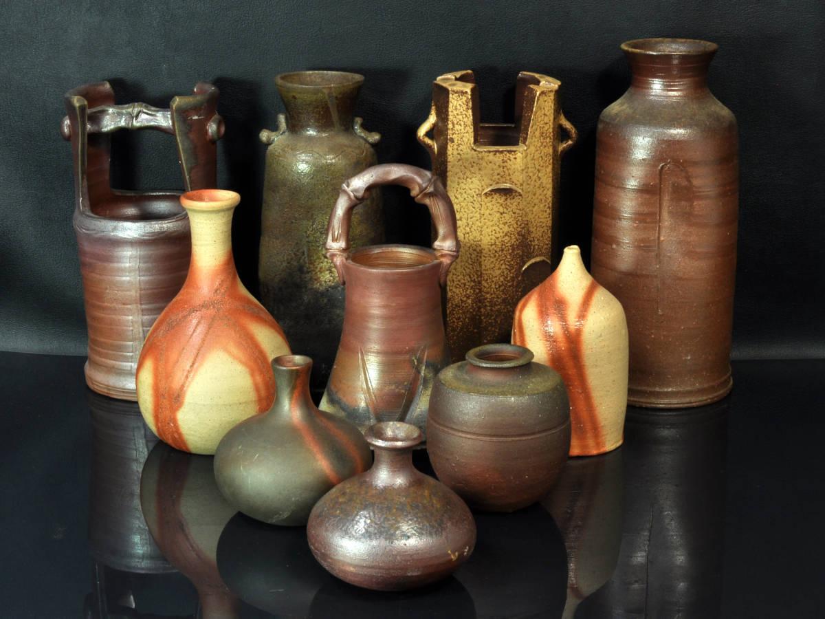 【義】 備前焼 越前焼 小花瓶 計10点 ど~んと まとめて 大量 花器 花入 華道具 箱なし