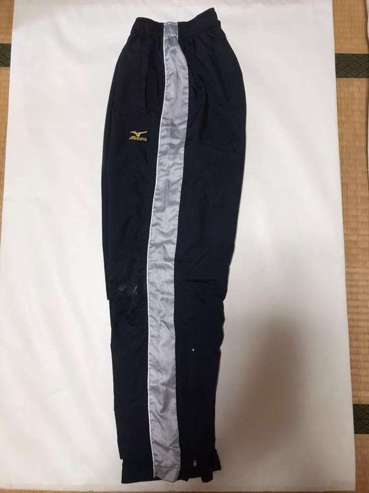 【483】ミズノプロ展示会限定ブレスサーモトレーニングスーツ上下セット ネイビー×シルバーMサイズ中古品_画像6
