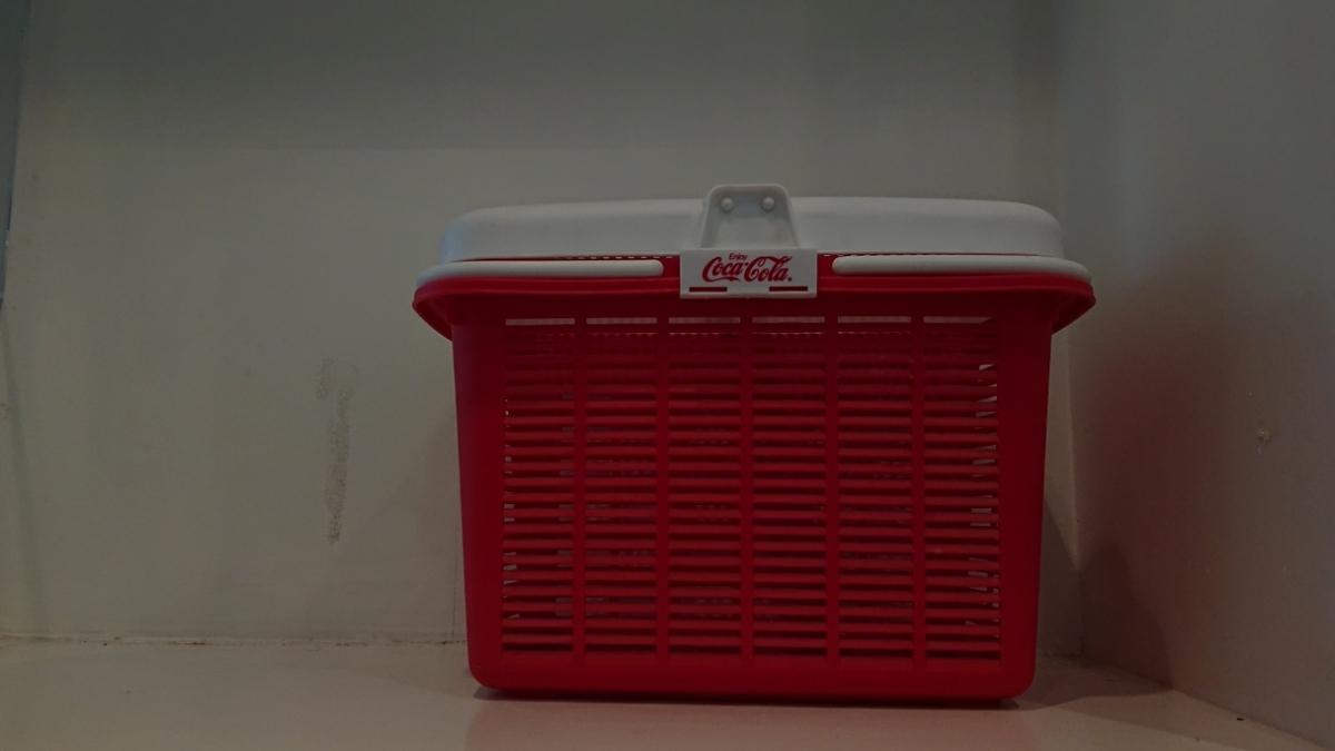 コカコーラCokacolaヴィンテージ レトロ コカ コーラ ボックス籠バッグかご収納 赤 白 ロゴ カゴ _画像2