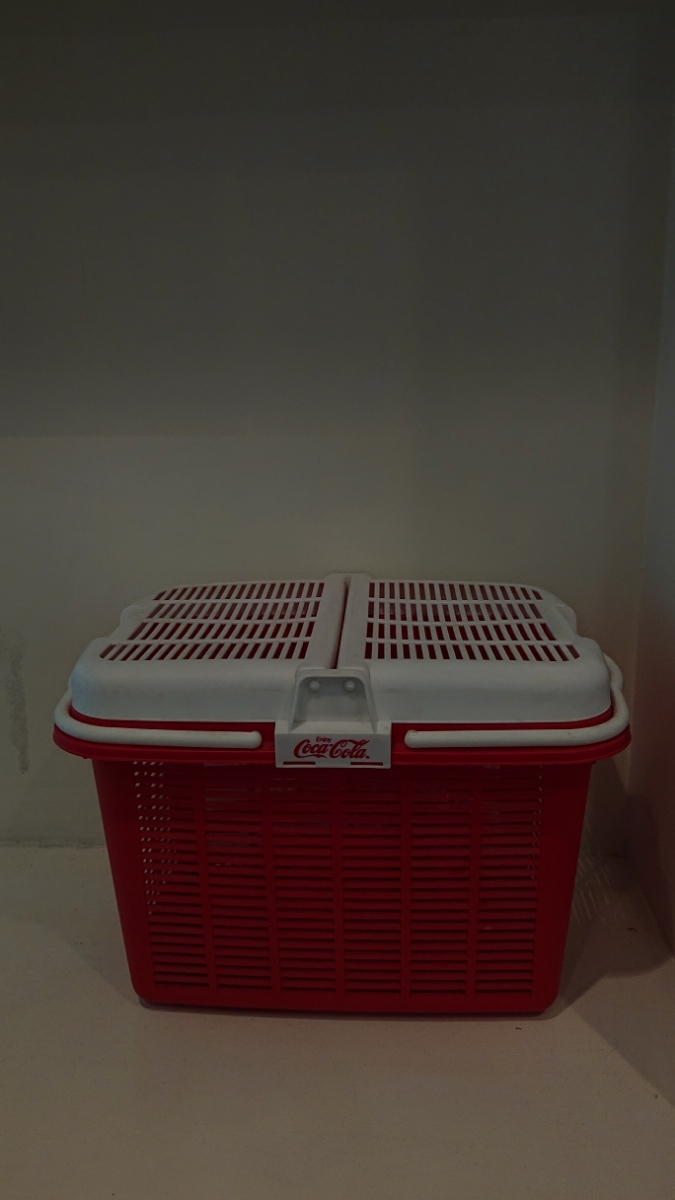 コカコーラCokacolaヴィンテージ レトロ コカ コーラ ボックス籠バッグかご収納 赤 白 ロゴ カゴ _画像1