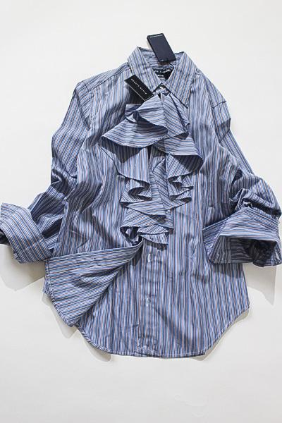 ラルフローレン POLO RALPH LAUREN size4 身頃フリルたっぷり長袖ストライプシャツ_画像2