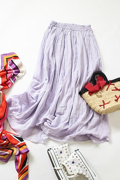 ジャーナルスタンダード JOURNAL STANDARD relume コットン100% ラベンダーカラーエアリーなロングスカート size F_画像3